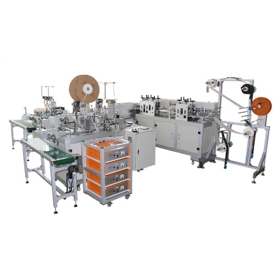 Full-automatic flat disposable mask production line